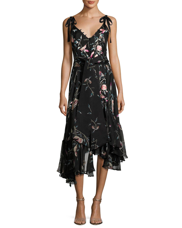 Pressed Flower-Print Ruffled Silk Chiffon Dress, Black
