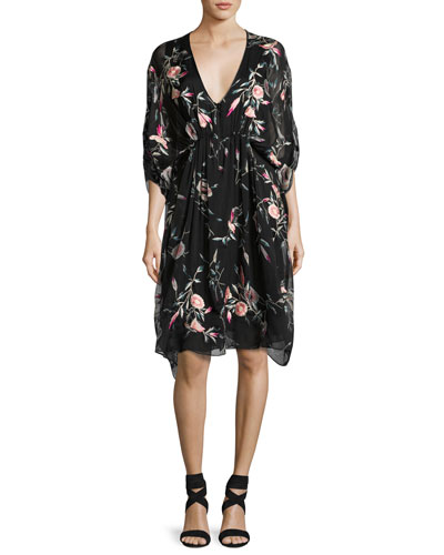 Embroidered Floral-Print Silk Caftan Dress, Black