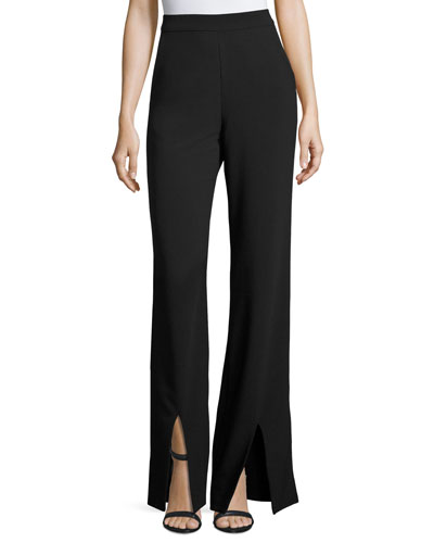 High-Rise Front-Slit Wide-Leg Pants, Black
