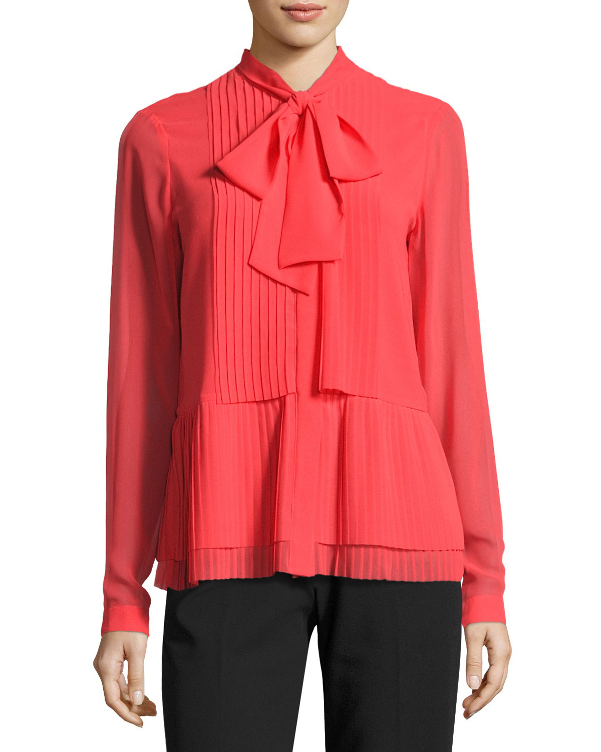 Long-Sleeve Bow-Neck Pleated Blouse, Pink