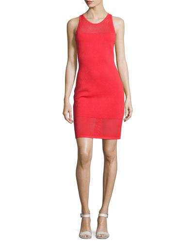 Mesh-Trim Sleeveless Sweater Dress, Coral Reef