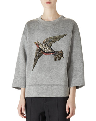 Embroidered Jersey Sweatshirt, Medium Gray Melange