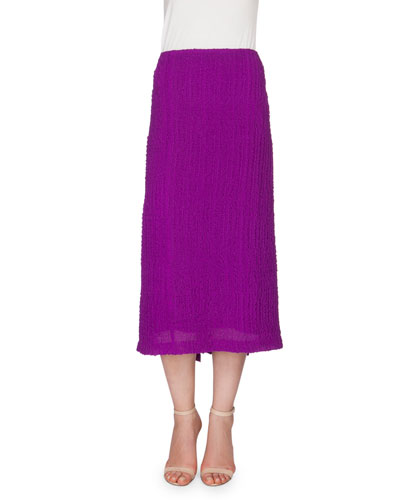 Textured Seersucker Pencil Skirt