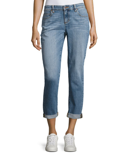 Stretch Boyfriend Jeans, Sky Blue, Petite