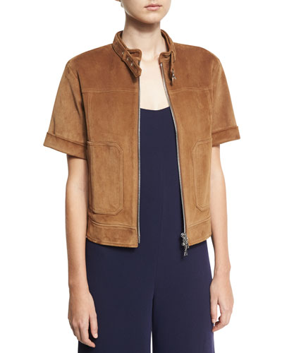 Lavzinnie Wilmore Short-Sleeve Suede Jacket, Brown