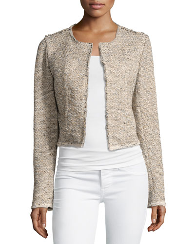 Ualana Comprised Tweed Jacket, Beige