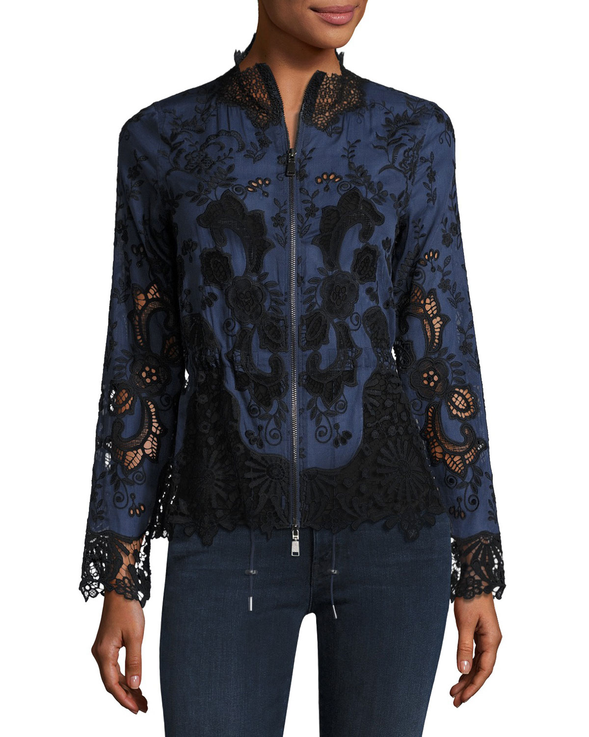 Ansel Lace-Trimmed Jacket, Multi