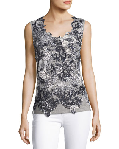 Leandra Sleeveless Lace-Front Blouse, Black/Gray