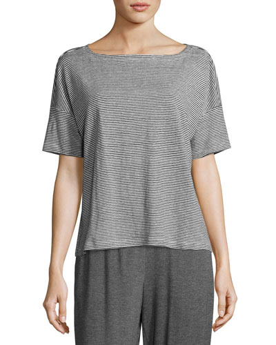 Short-Sleeve Linen Jersey Mini-Stripe Top, Plus Size