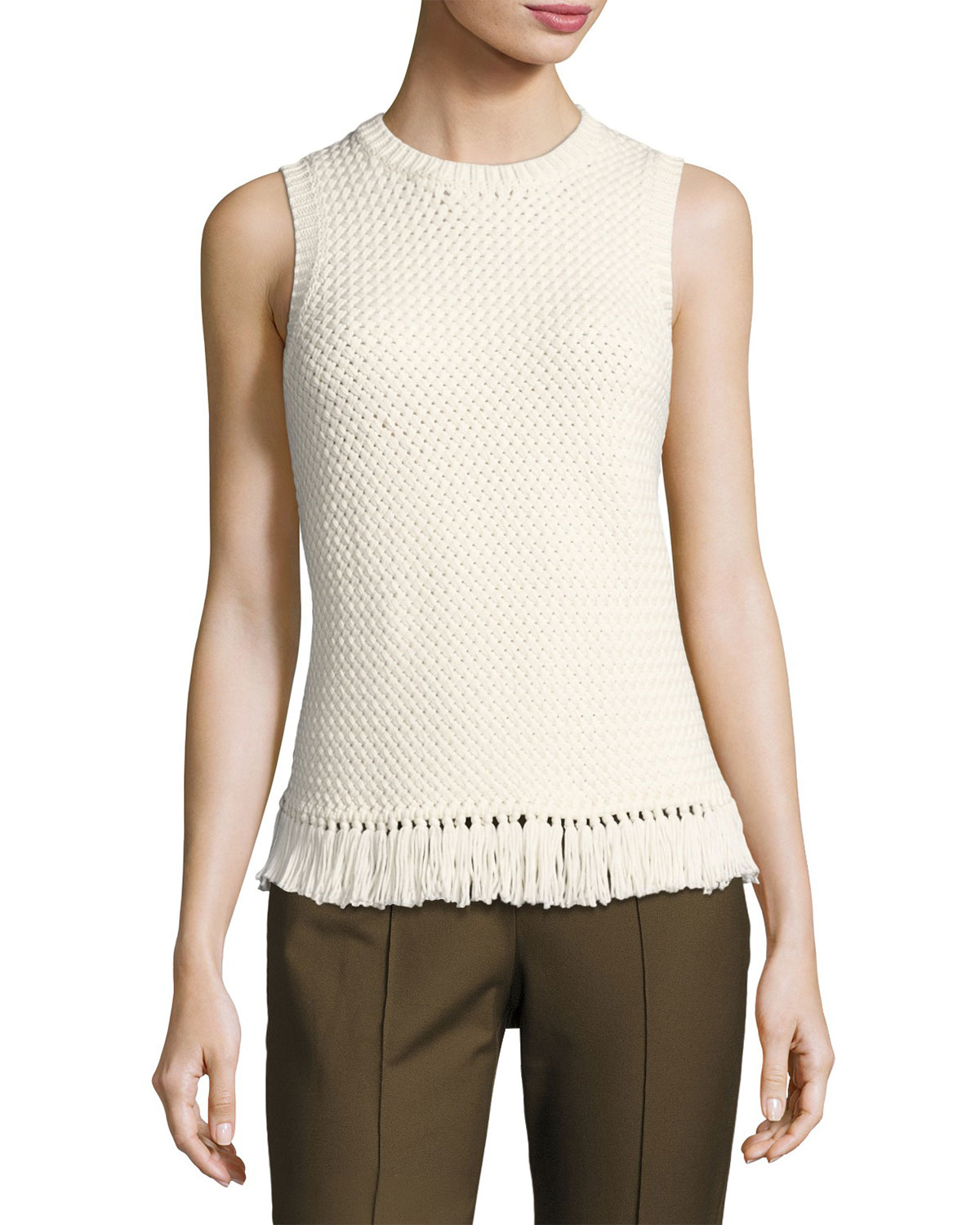 Meenara Crosshatched Knit Tank Sweater, White