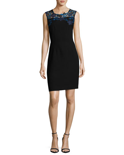 Blake Sleeveless Lace-Yoke Sheath Dress, Black
