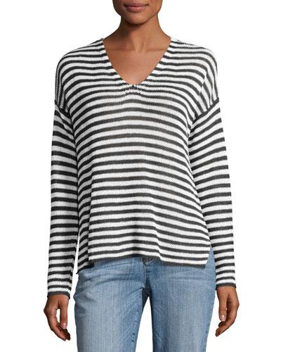 Organic Linen Striped V-Neck Box Top
