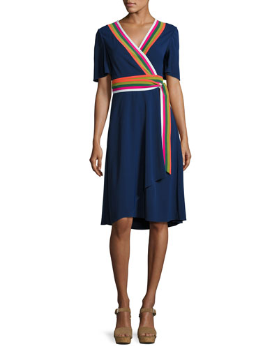 Peggy Wrap Dress w/ Striped Trim, Navy
