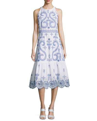 Mariana Sleeveless Embroidered Cotton Midi Dress, White/Blue