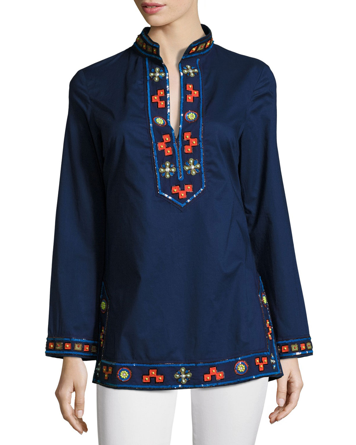 Long-Sleeve Embellished Tory Tunic, Navy