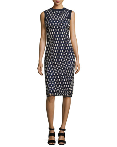 Carolina Sleeveless Knit Sheath Dress, Navy
