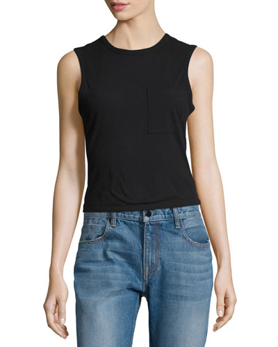 Cotton Jersey Twist-Back Tank, Black