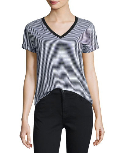 Striped Jersey V-Neck Tee, Gray/Black