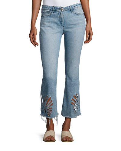 Freja Floral-Cutout Cropped Bell-Bottom Jeans