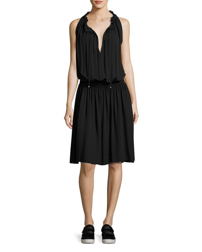 Ritah Classic Georgette Sleeveless Smocked-Waist Dress, Black