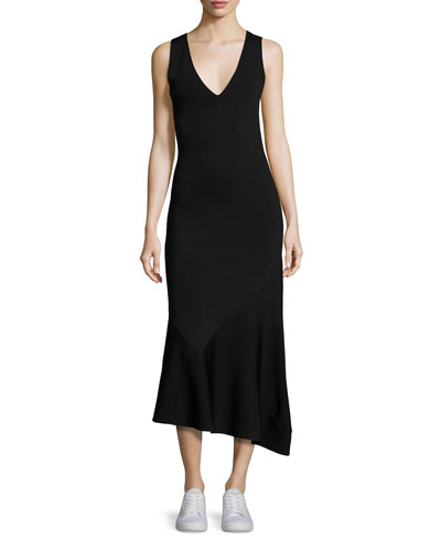 Gardella Lustrate Sleeveless V-Neck Midi Dress, Black