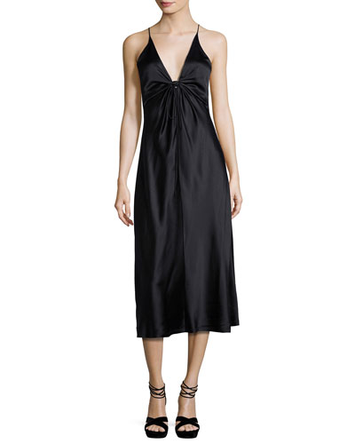 Sleeveless Silk Charmeuse Midi Dress, Black