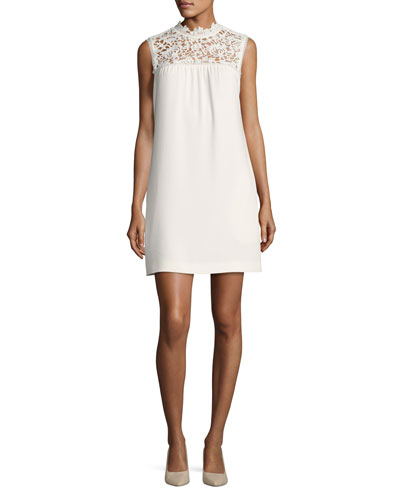 Aronella Elevate Crepe Lace-Yoke Dress, White