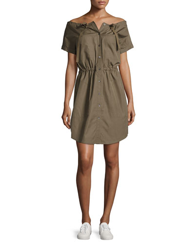 Laela Stretch-Cotton Off-the-Shoulder Shirtdress, Green