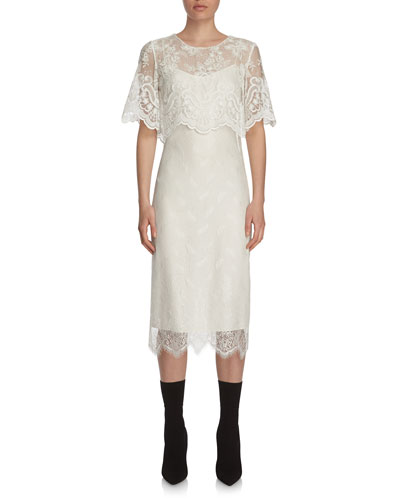 Lace Short-Sleeve Popover Dress