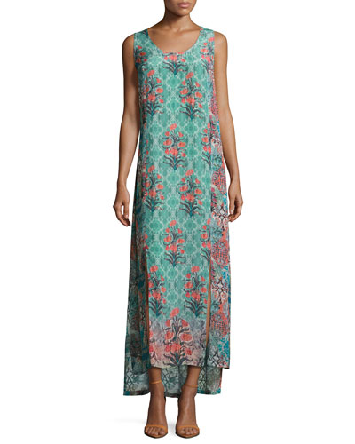 Kendall Sleeveless Floral-Print Maxi Dress, Sea Green