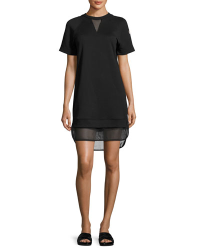 Short-Sleeve Mesh-Hem Dress, Black