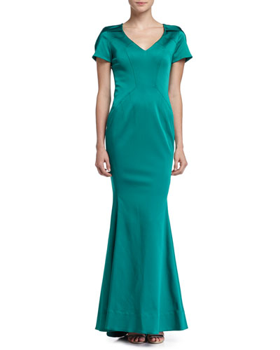 Maira Short-Sleeve Gown with Train, Fiji