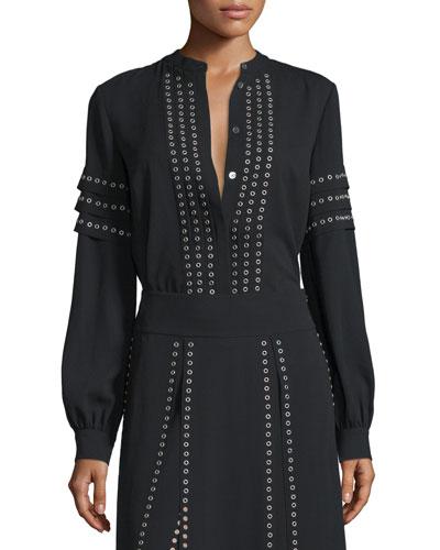Long-Sleeve Grommet-Embellished Blouse, Black