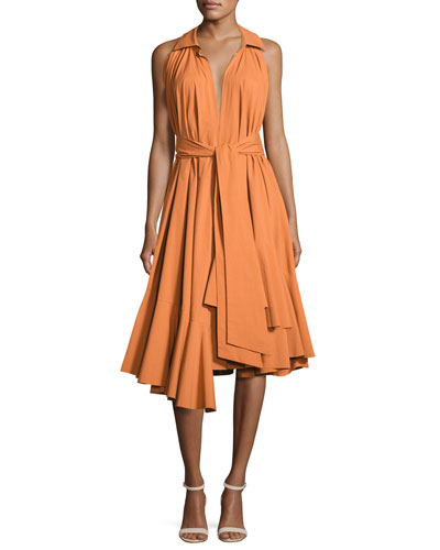 Ruffled Stretch-Cotton Halter Dress, Bronze