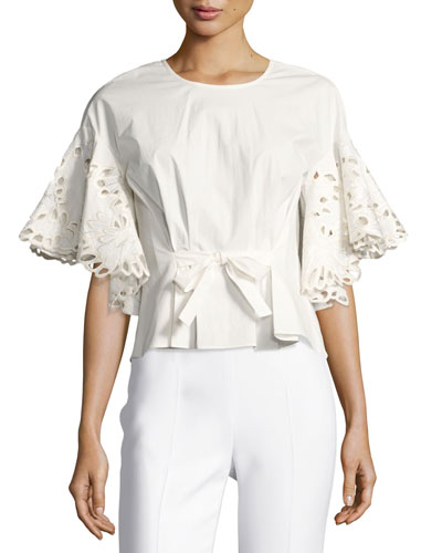 Ruffled Short-Sleeve Top w/ Embroidery, White