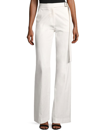 High-Waist Wide-Leg Stretch-Cotton Pants, White