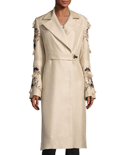 Long Trench Coat w/ Embroidered Bell Sleeves, Light Brown