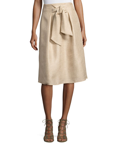 Tie-Front A-Line Skirt, Light Brown