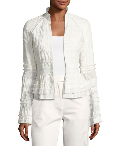 Textured Stretch-Cotton Peplum Jacket, White