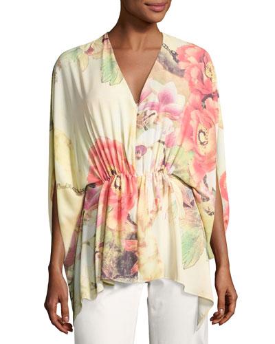Floral-Print Caftan Top, Multi
