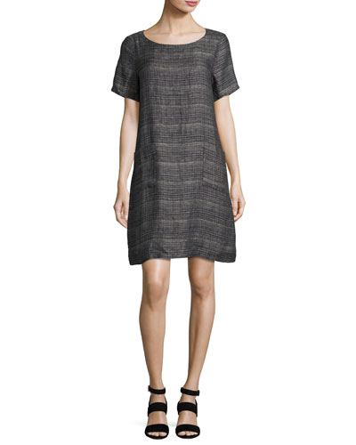 Coastline Short-Sleeve Organic Linen Shift Dress