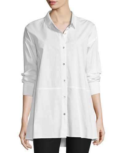 Organic Cotton Lawn Oversized Shirt, White, Plus Size