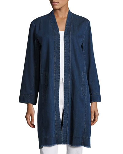 Organic Stretch-Cotton Denim Jacket, Midnight, Petite