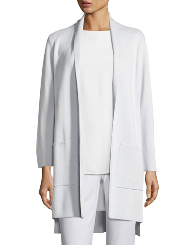 Silk Organic Cotton Kimono Cardigan w/ Pockets, Rain