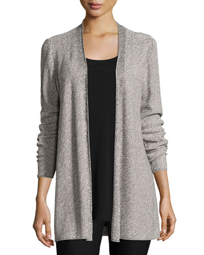 Sleek Tencel® Twist Simple Long Cardigan, Silver