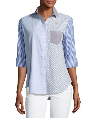 Mixed Stripe Button-Front Shirt, Plus Size