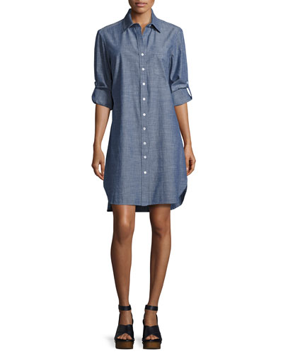 Alex Long-Sleeve Denim Shirtdress