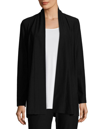 Lightweight Washable Stretch-Crepe Topper Cardigan, Black, Petite