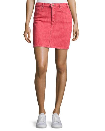 Le Color Denim Pencil Skirt, Crimson