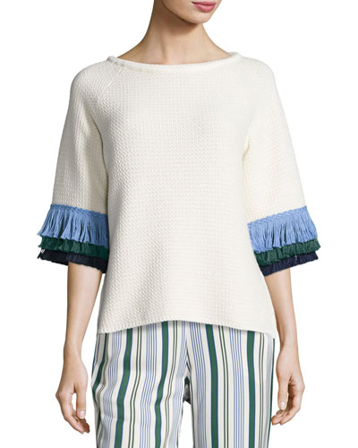 Kingston Tri-Color Fringe-Sleeve Sweater, White/Blue/Green